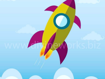 Free Adobe Illustrator Rocket Launch Vector Illustration