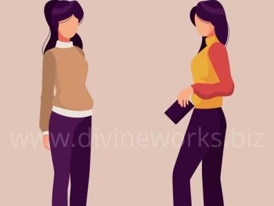 Modeling Girls Vector Illustration
