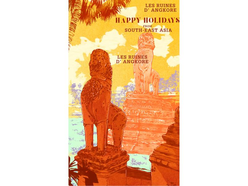 Post Card Illustration - Angkor Wat, Cambodia