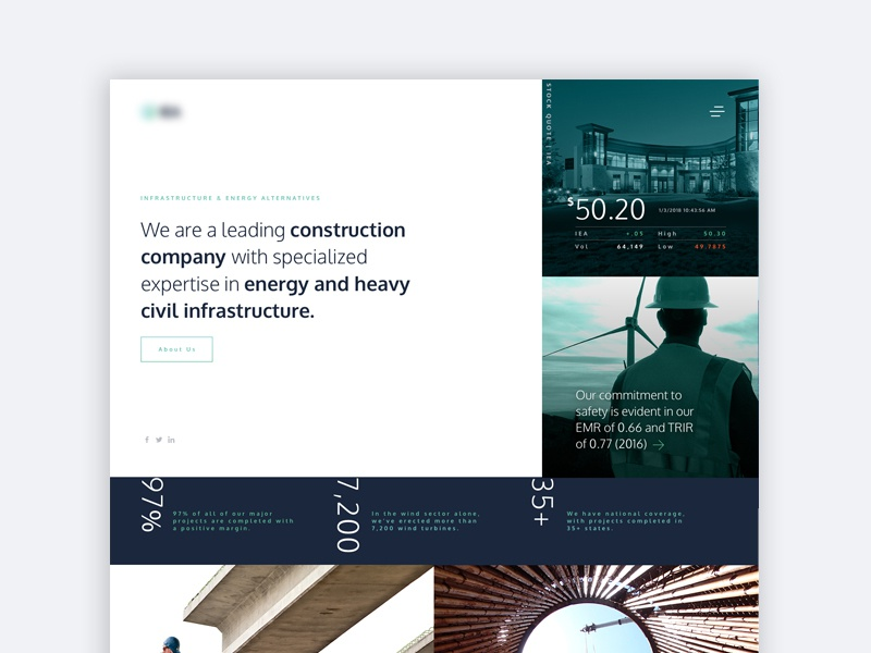 Homepage Concept for an Infrastructure Construction Company