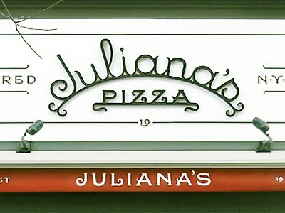 Juliana's john passafiume lettering restaurant signage