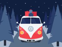 Old Volkswagen van for christmas