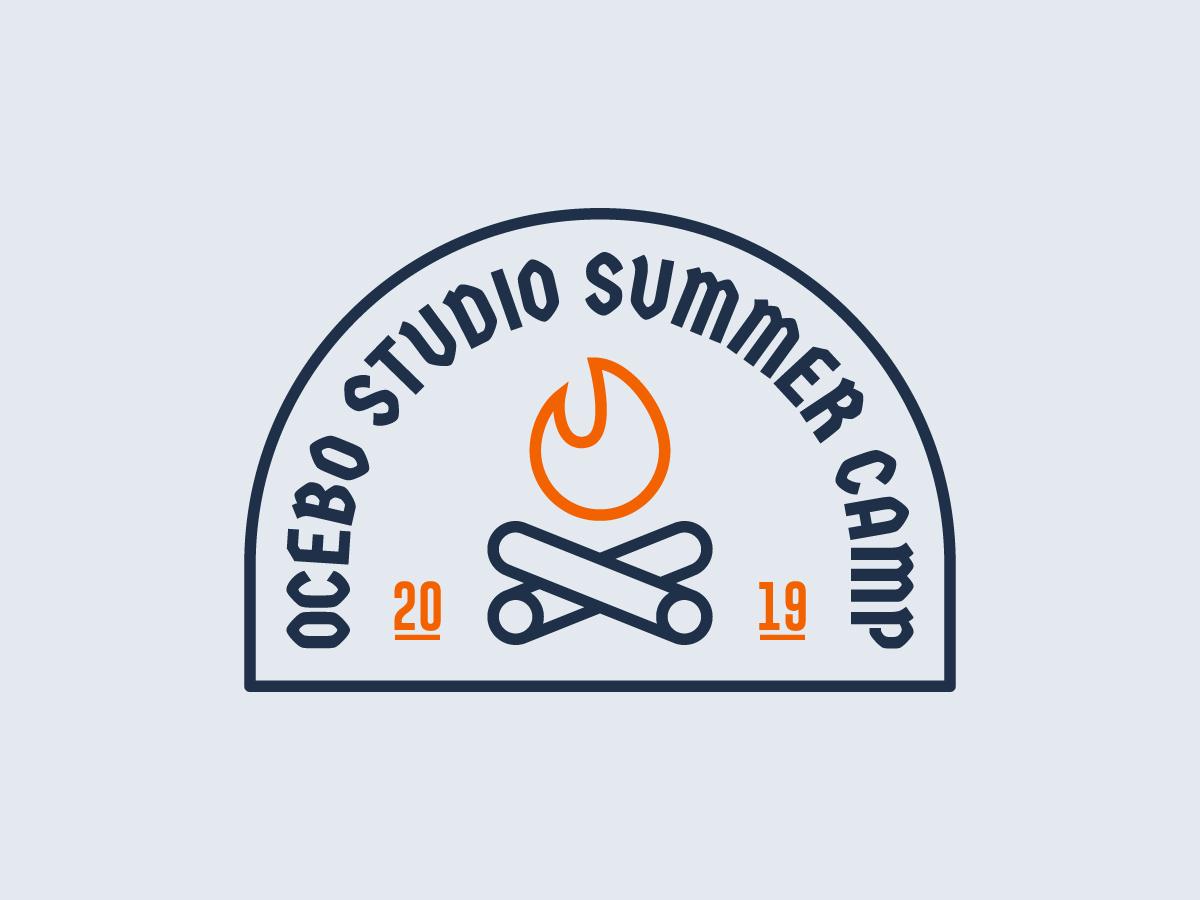 Summer Camp Badge nature scoot badge logo duotone icon flat vector illustration camping studio campfire summer camp summer
