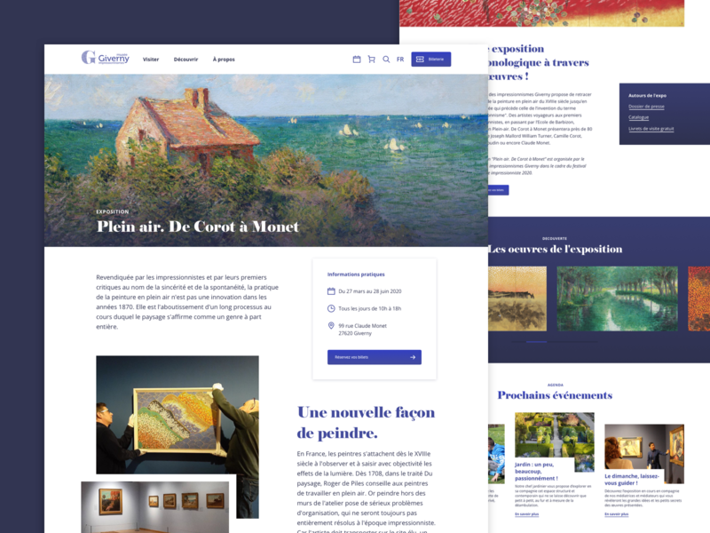 Impressionist museum exhibition - UX/UI Design