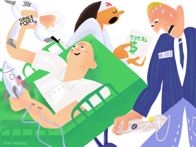 Space force usa future worldnews politics hospital childhood editorial illustration healthcare health money spaceforce