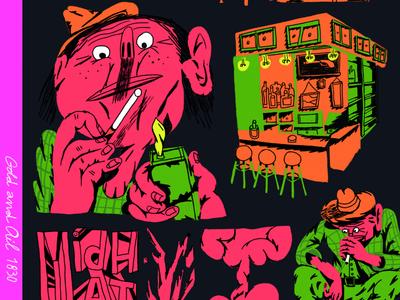 John D. Rockefeller taking a break explosion guns gunpowder voilence smoking bar empire america colourfull brush oil charachter deign illustration art illustrated illustration