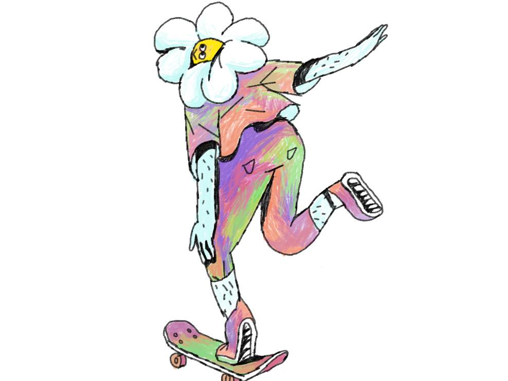 Flower Power! skating skate fower coulours colourfull digitalart illustratie illustration flowerpower