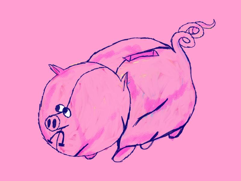 saving money pink drawing pets animal and pet farm animal illustration farm piggy pork prok