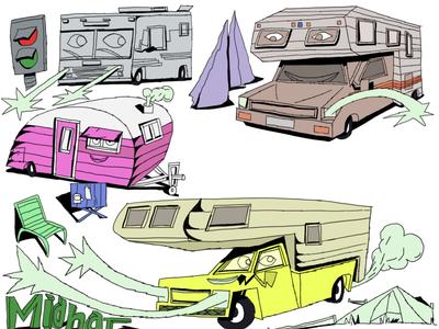 Rv Park charachter pencilart illustration art pencil art drawing pen drawing illustration cars
