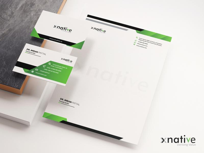 xnative branding banner vector logo illustration design branding logo design letterhead design visiting card design