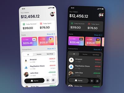 Banking Mobile App budgeting app finance app finance dark theme dark ui bank card banking app bank app bank ui mobile ui mobile design mobile app mobile app