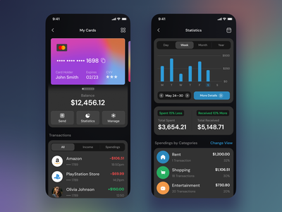 Cards and Statistics in Mobile Banking App money app mobile app bank ui banking app dark theme dark ui bank app graphs histogram statistics bank card money manager