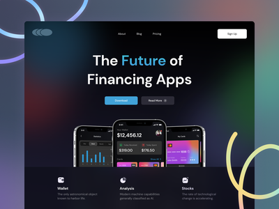 Financing App Landing Page Hero ux design ui design clean minimal web design website