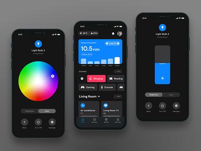 Smart Home App Concept design dark theme mobile ui mobile design mobile app mobile app ui