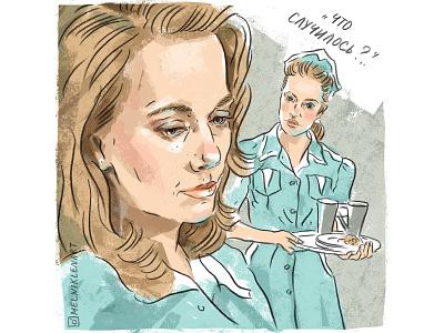 "Comic book illustration based on the movie ""Twin Peaks"" design digitalportrait cinema portrait illustration portrait lettering comix character branding illustration"