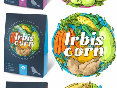 """Illustrations for a series of packages """"IRBIS"""" lettering type logo vector typography design branding illustration vegan packagedesign"""