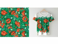 "Pattern and t-shirt design ""Poppy"""