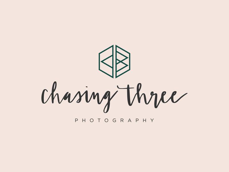 Chasing Three Logo hand lettered submark brand logo design concept logo design brand identity branding brand design