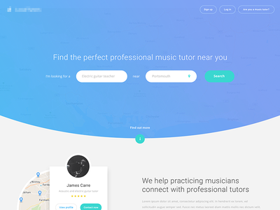 Music Tutor Landing Page landing page search tutor music