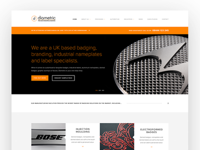 Diametric corporate manufacturer badge ux user interface website