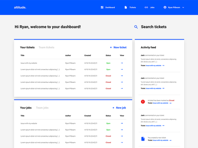 Welcome to your dashboard clean blue dashboard ui tickets