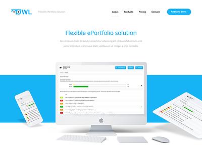 OWL landing page eportfolio mockup website owl