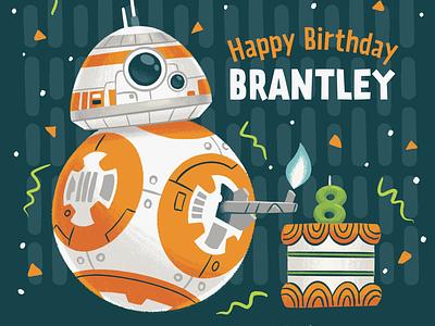 BB-8 Card illustration party children kids cake birthday droid star wars bb-8 bb8