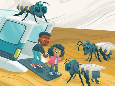 Bee guards guards honey hive bee honeybee kidlit kidlitart picture book book kids children illustration