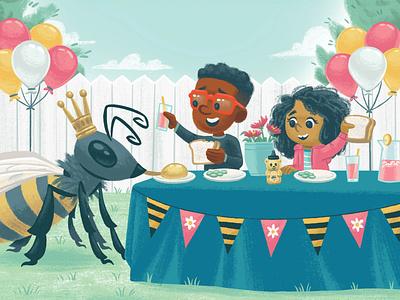 Celebration party balloon queen bee honeybee book kidlit kidlitart picture book kids children illustration