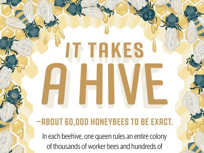 It Takes a Hive honeycomb honey hive queen bee honeybees design typography kidlit kidlitart science picture book book kids children illustration