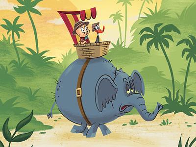 Porky and Daffy adventure jungle elephant porky pig daffy duck looney tunes kids picture book kidlitart kidlit book children illustration