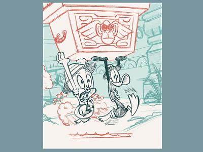 Ruuunnn!!! adventure treasure daffy duck porky pig cartoon looney tunes kidlit kidlitart picture book book kids children illustration