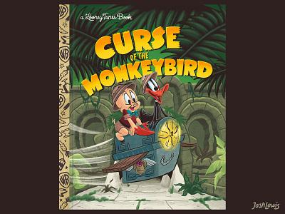 Curse of the Monkeybird temple elephant adventure porky pig daffy duck looney tunes picture book kidlit kidlitart book kids children illustration