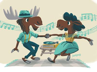 Dancing Meese moose mid-century mid century midcentury jazz dance swing vinyl record record player music character design character kidlit kidlitart picture book book kids children illustration