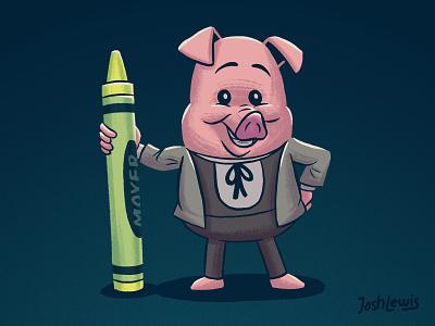 Ham Helsing crayon pig book kids children illustration