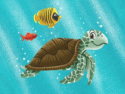 Ocean Critters fish sea turtle ocean children illustration