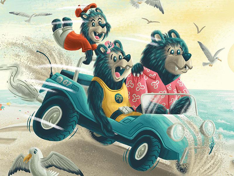Bears on the Beach shells crab seagull ocean beach buggy bear book kids children illustration