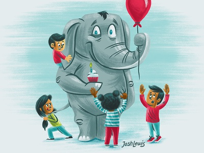 Kid's Party cupcake balloon kids children party birthday elephant illustration