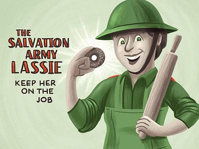 National Donut Day salvation army donut kids children illustration