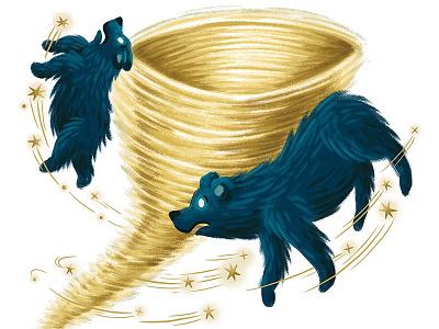 Ursa Major and Ursa Minor mythology astronomy ursa major stars typography book kids children editorial illustration