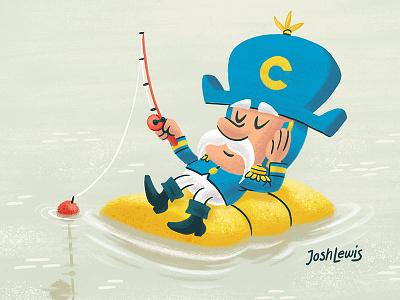 Cap'n Crunch milk mascot cereal fishing capn crunch kids children illustration