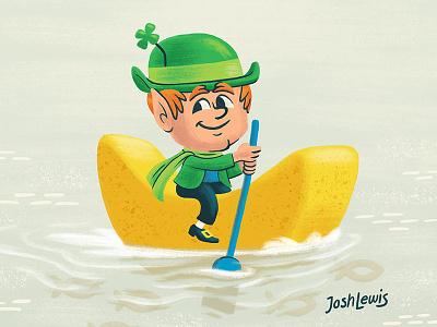 Lucky milk mascot cereal lucky charms kids children illustration