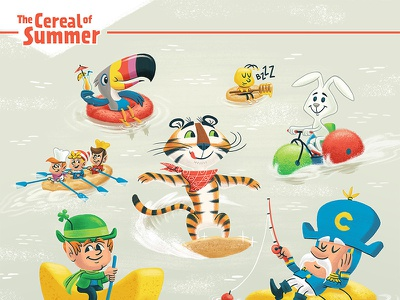 Cereal Of Summer milk mascot cereal capn crunch toucan sam lucky charms tony the tiger kids children illustration