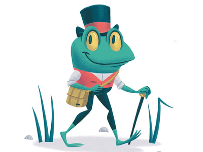Meet Rudy top hat frog character design children kids illustration