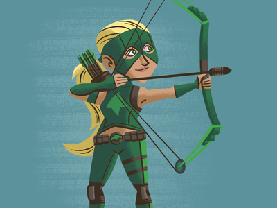 Artemis comics bow archer arrow children kids illustration