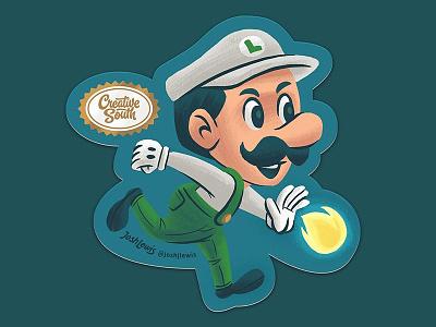 Luigi Sticker sticker luigi super mario mario nintendo video game kids children illustration