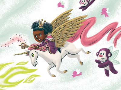 The queen kidlitart kidlit childrens book picture book dream flying monkey queen unicorn children kids illustration