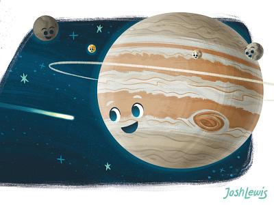 Jetting past Jupiter kidlit jupiter kidlitart stars cosmos picture book planets science solar system book space kids children illustration