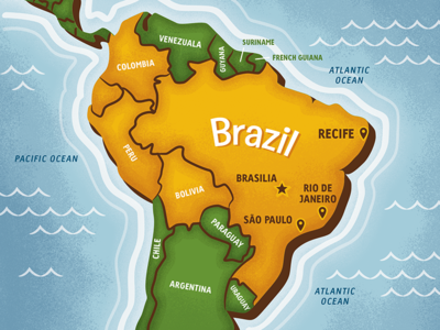 Map South America by Josh Lewis Dribbble