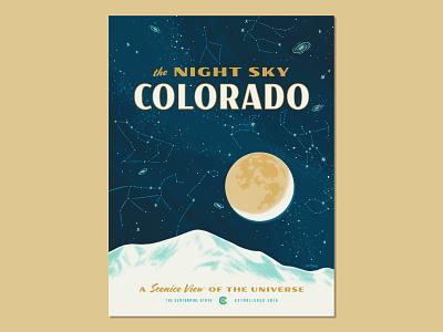 The Night Sky in Colorado galaxies milky way constellations stars sky mountains colorado poster art poster design night sky poster design space illustration